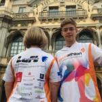 Das Eschathlon-Shirt macht auch in Spanien immer ein gute Figur - hier in Barcelona