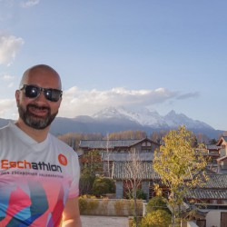 Hier ein Eschathlet am Snow Mountain 5500m, Lijiang, China
